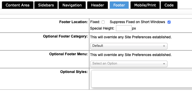 Footer in Layouts